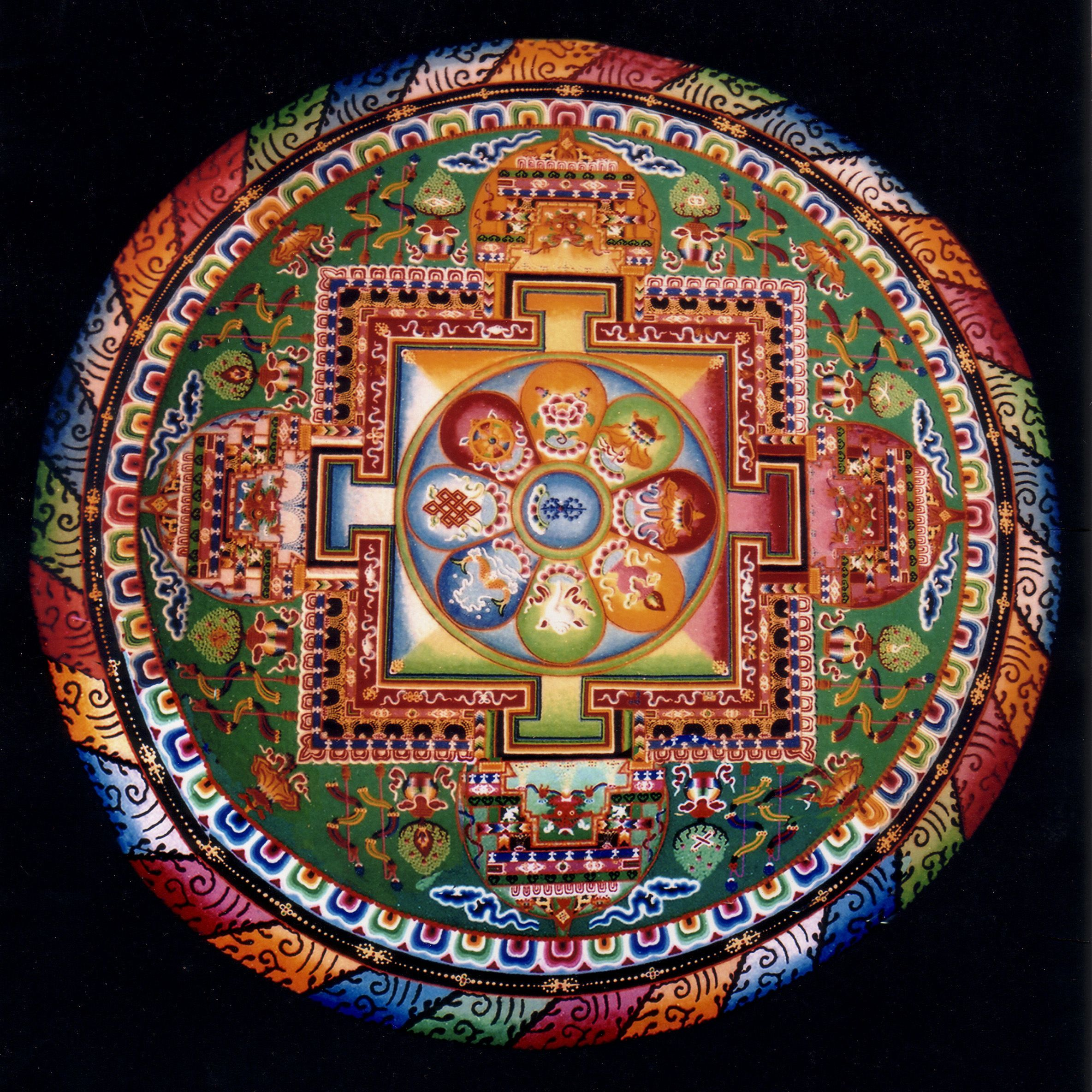 All made from sand. Mandala sand art by Buddhist Monks