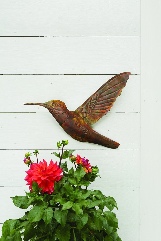 Hanging hummingbird happy gardens pinterest garden wall decor