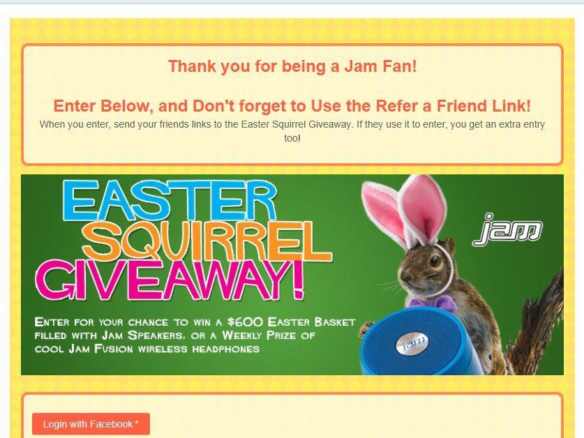 Jam Audio Easter Squirrel Contest