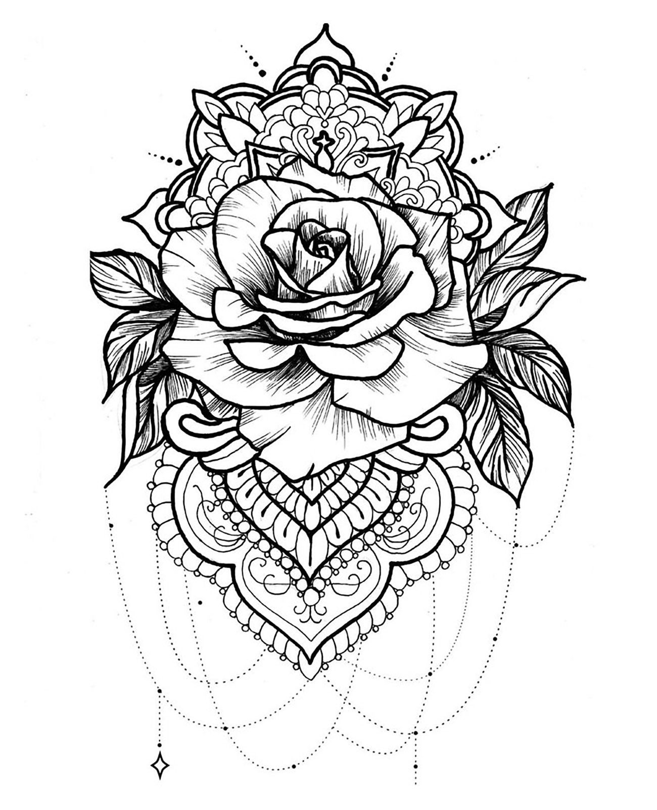 Coloriage Mandala Dragon Beau Modele Best Rose Mandala Coloring Pages Collection Tattoos Rose Tattoos Mandala Tattoo