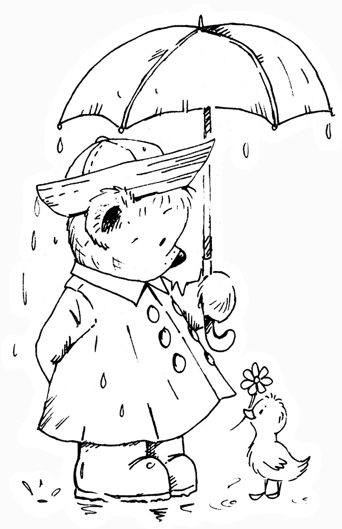 April Showers Bring May Flowers Coloring Page Teddy Drawing