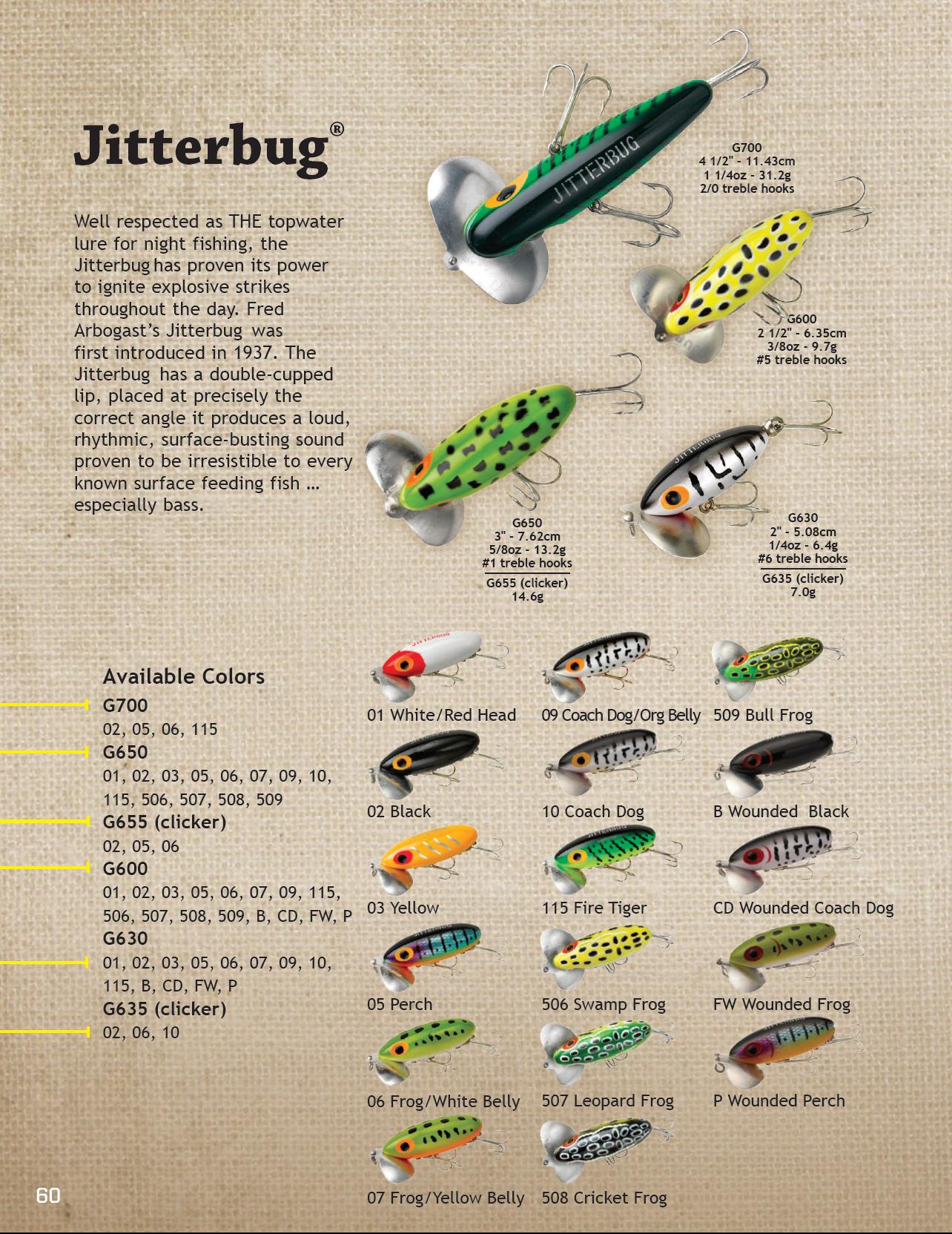 Arbogast jitterbug 2017 color chart fishing lure color charts bass fishing lures arbogast jitterbug 2017 color chart nvjuhfo Gallery
