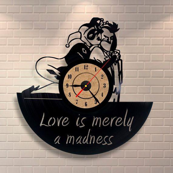 Joker And Harley Quinn Vinyl Wall Record Clock By
