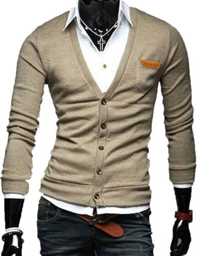 Men Slim Fit Cotton Knit Sweater Cardigan Button Deep V Neck Basic Coat (US Size: M(Tag size:XL), khaki) TRURENDI, To SEE or BUY just CLICK on AMAZON right here http://www.amazon.com/dp/B00IQ00STY/ref=cm_sw_r_pi_dp_mKeDtb1E7H2WHFFR