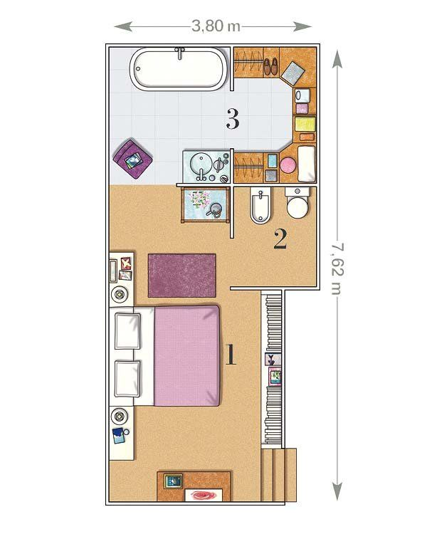 Un Dormitorio De 23 M Con Bano Y Vestidor Plano De Habitacion