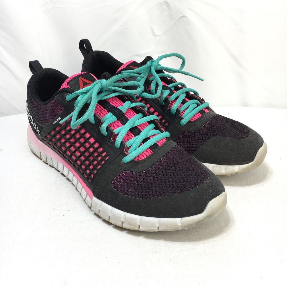 90b7deabb70dca Reebok Nanoweb ZRated Womens 9.5 Black Pink Lace Up Cross Training Running  Shoes