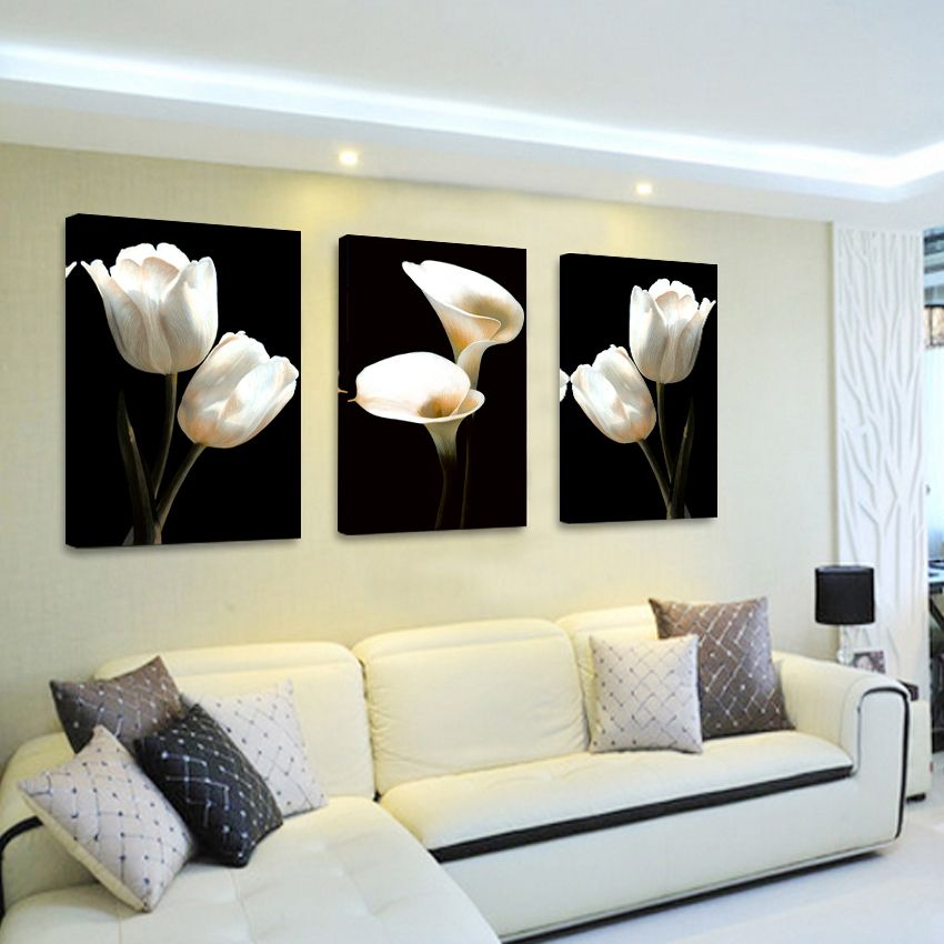 Oil Painting Cuadros Magnolia Flower 3 Piece Wall Decorative Pictures For Living Room Art Print In Living Room Art Prints Living Room Pictures Living Room Art