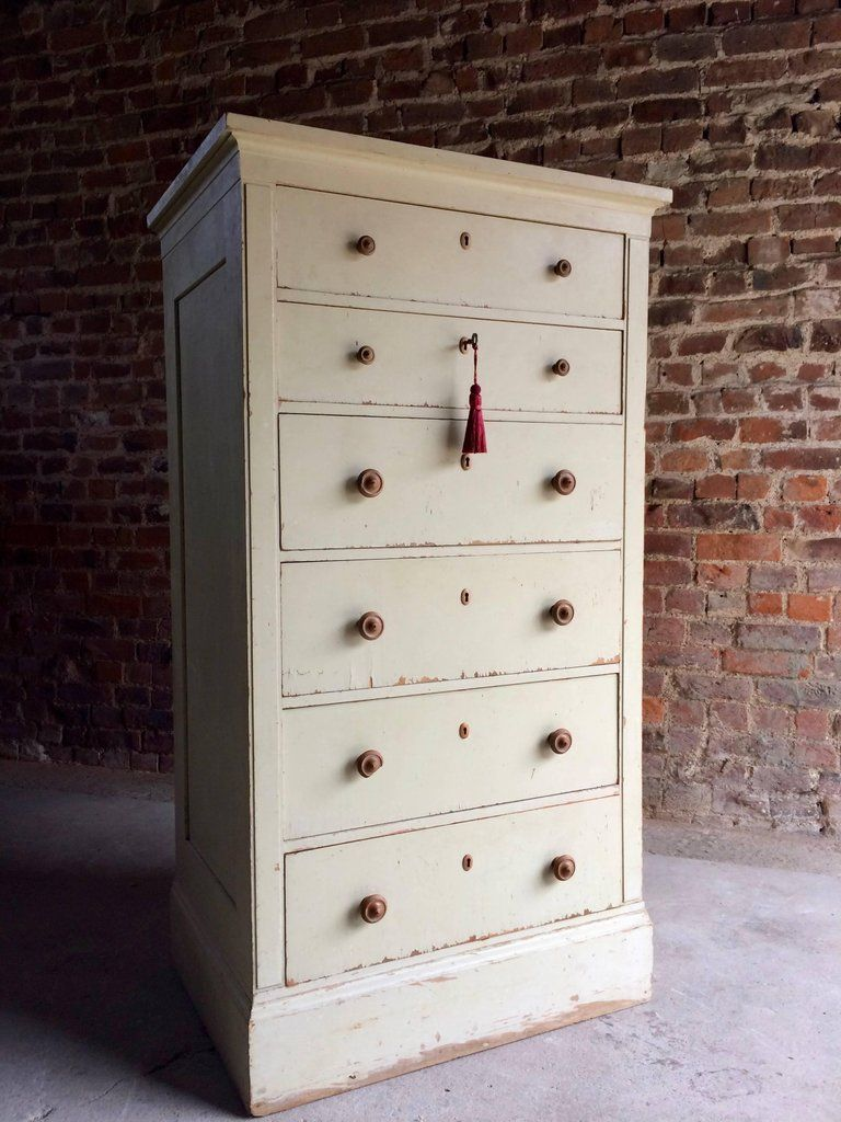 Gustavian Style Tallboy Chest Of Drawers Antique 19th Century Painted Distressed Tallboy Chest Of Drawers Vintage Chest Of Drawers Small Chest Of Drawers