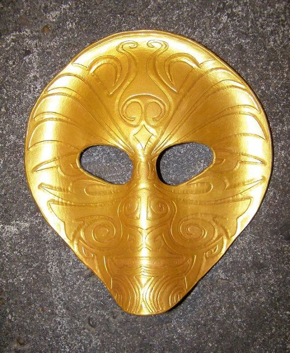 Leather mask maori gold by DragonsandSnakes on Etsy