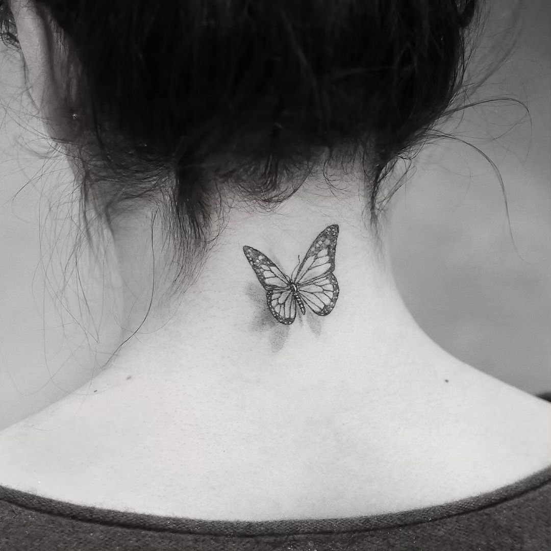 Butterfly Tattoo Is One Of The Most Popular Tattoo Ideas Butterfly Tattoos Are Becoming More And More Neck Tattoos Women Butterfly Tattoo Back Of Neck Tattoo