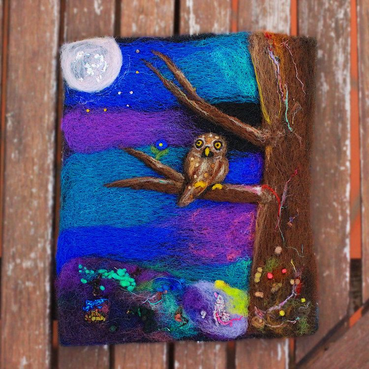 Wool Painting, Moonlight Owl, Whimsical Art, Textile Art, Felted Art, Felt Painting, Fiber Art, Colorful, Nature, Waldorf, Childrens Room - pinned by pin4etsy.com
