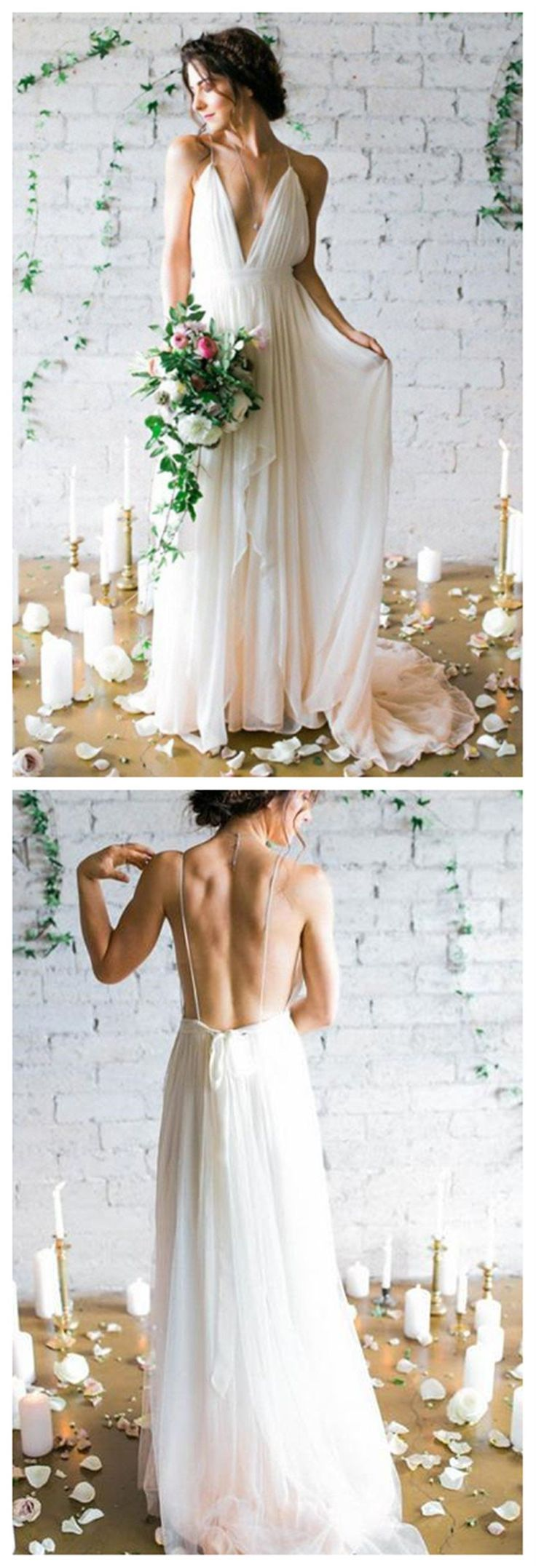 Simple Backless Beach Wedding Dresses Chiffon Long Custom Wedding Gowns Affordable Bridal Dresses 17098