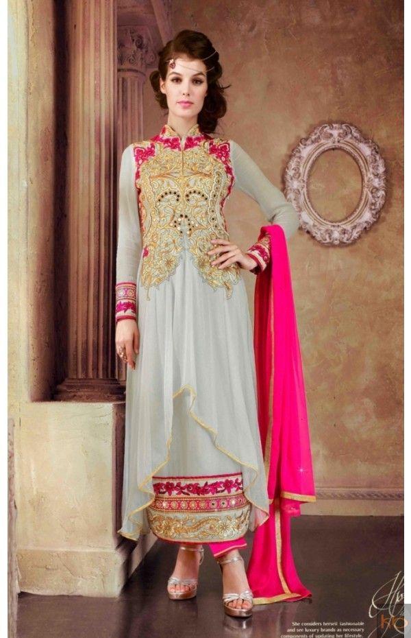 Beautiful Designer Neck Light Gray And Pink Anarkali Suit