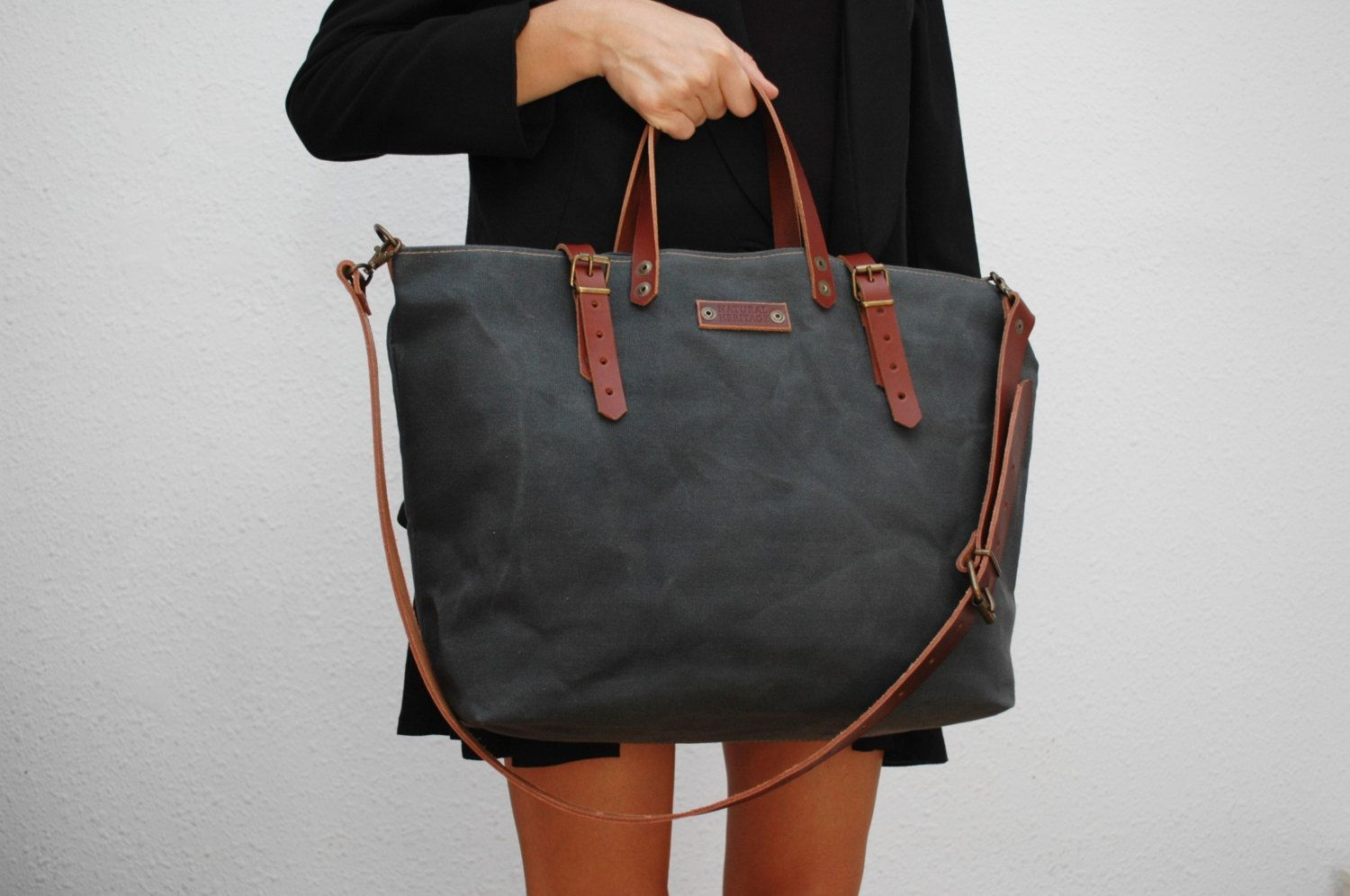 Waxed Canvas Tote Bag with Leather Handles Large Black Tote With Extra Pocket