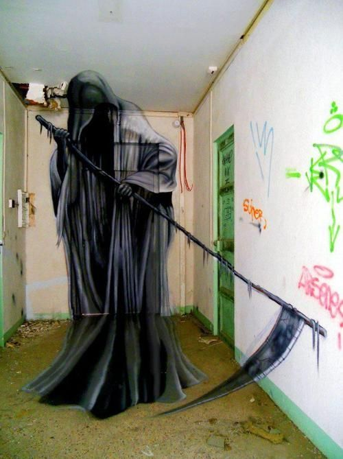 The Grimm Reaper, anamorphic art in France by Jeaze One