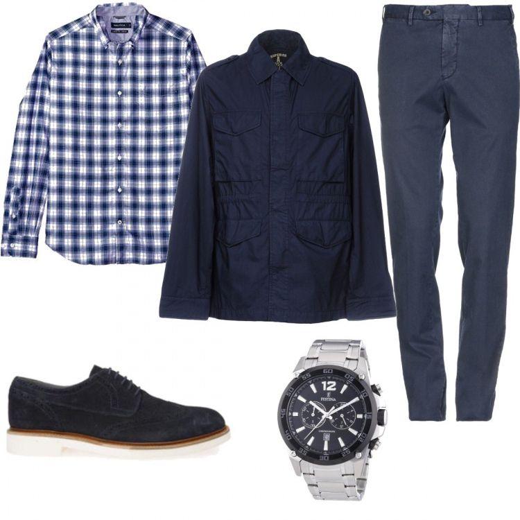 camicia collo coreana su pantallone nero e scarpe adidas