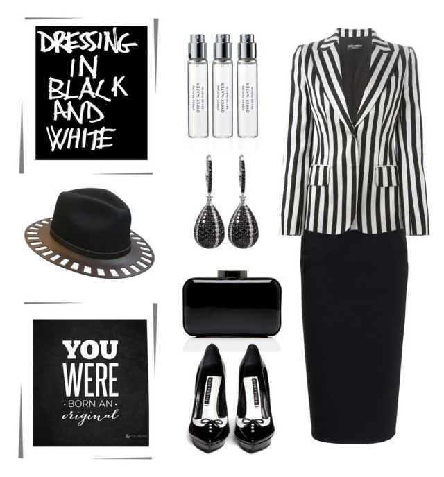 """""""Dressing In Black & White.... You Were Born An Original """" by conch-lady ❤ liked on Polyvore featuring Rick Owens, Dolce&Gabbana, The Season Hats, Lulu Guinness, Alice + Olivia and Byredo"""