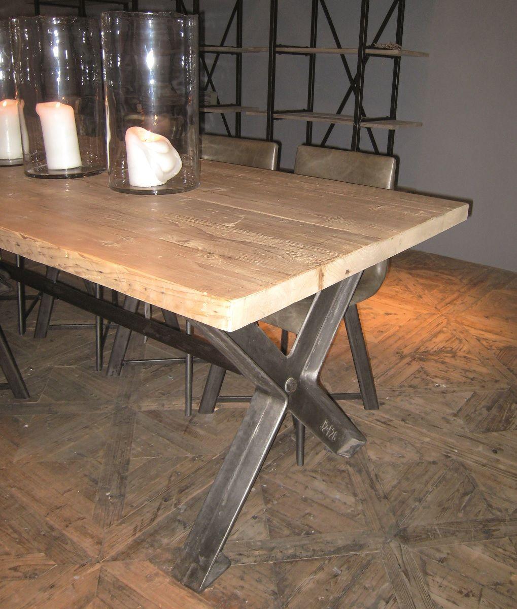 SW11120-1 Mesa de madera maciza y acero (250x95x78) | mesas comedor ...