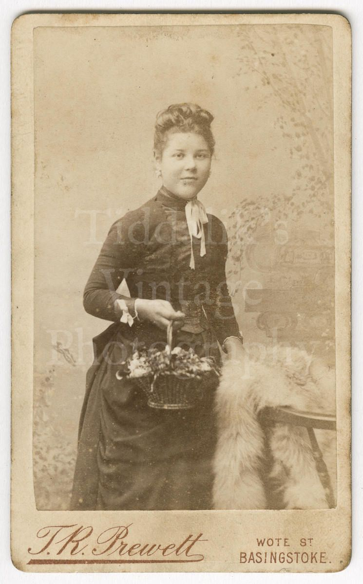 CDV Carte De Visite Photo Victorian Young Pretty Girl Holding Basket Of Flowers By Prewett Basingstoke England