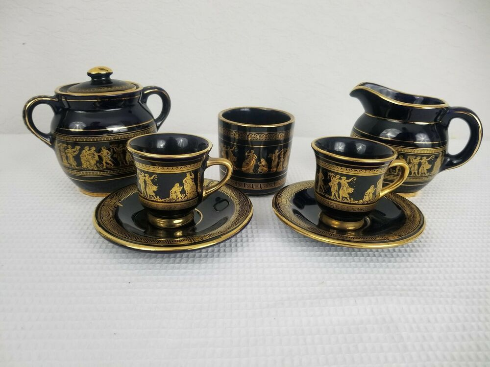 RARE NEOFITOU DEMITASSE CUP /& SAUCER HAND PAINTED IN GREECE WITH 24K GOLD TRIM