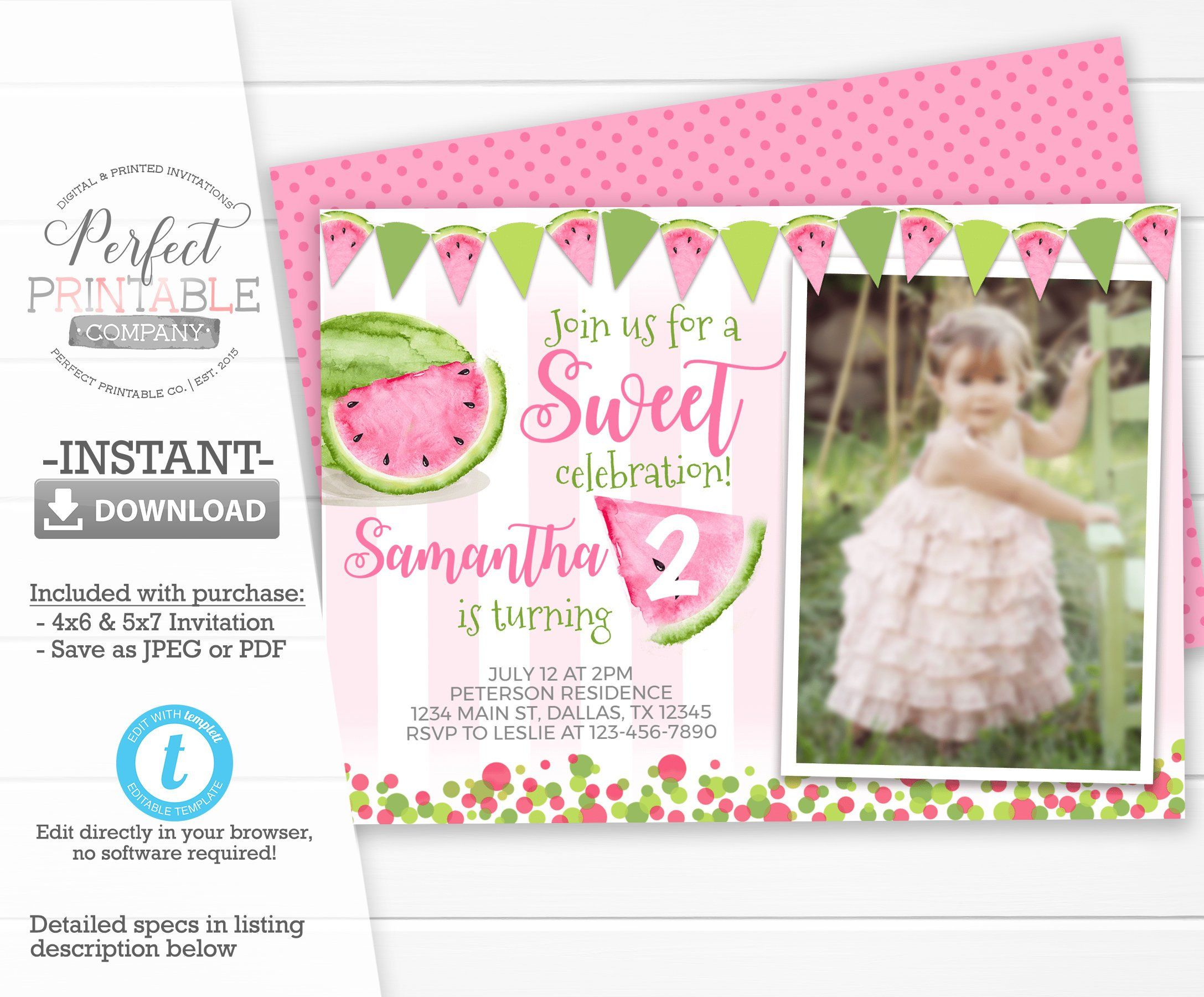 watermelon invitation watermelon birthday invitation watermelon