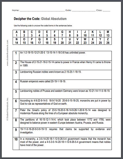 Global Absolutism Code Puzzle Worksheet - Free to print (PDF file ...