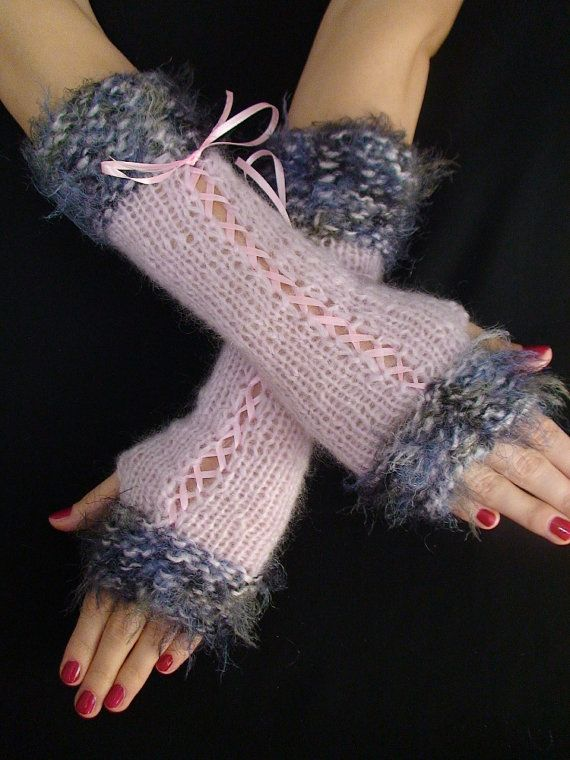 Fingerless Gloves Long Corset Light Pink Arm Warmers with Blue Green ...