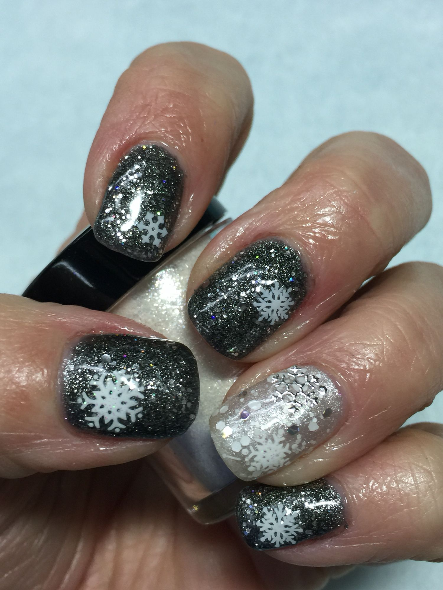 Silver Glitter over Black with Snowflakes, Winter Nails, OPI Ds ...
