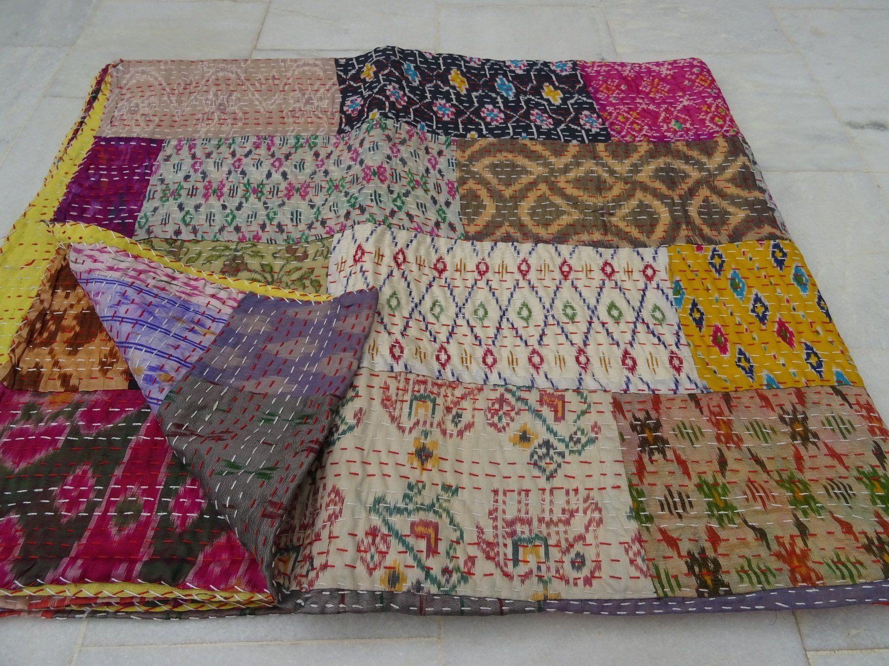 Indian beautiful silk patola kantha king quilt bedspread throw patchwork blanket