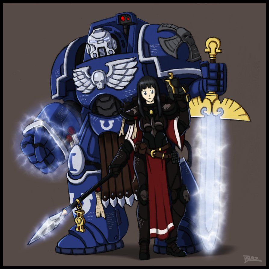 9c47e3a48813 Commission for ~Lionel23 of an Ultramarine Terminator and a Sister of  Battle