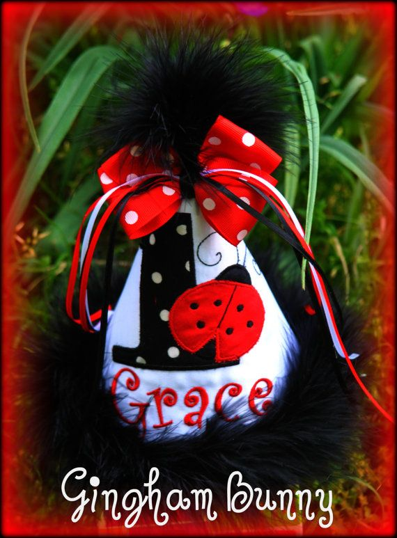 NEW DESIGN Ladybug First Birthday Hat Any Number You Choose Colors By Gingham Bunny Embroidery