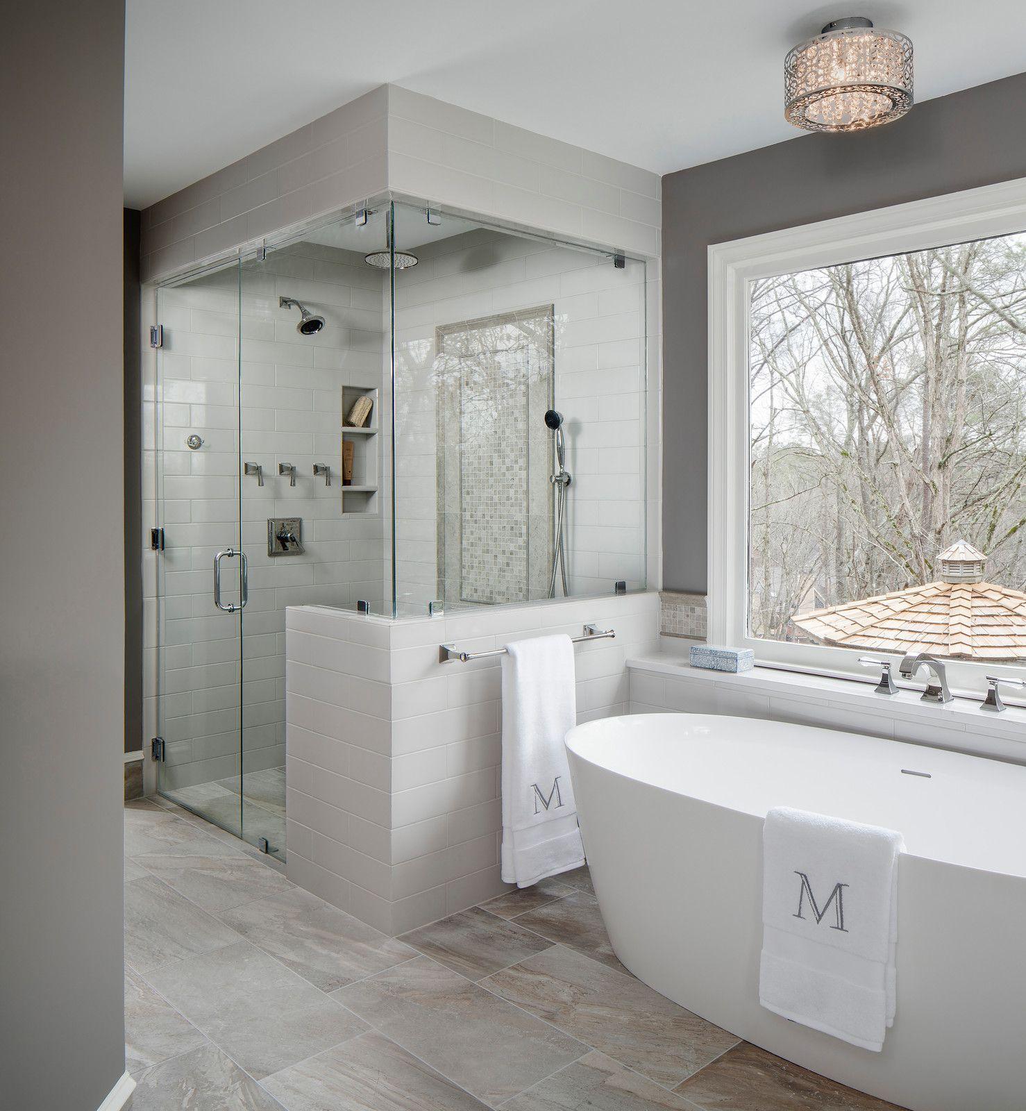 Inspiration For A Large Transitional Master Gray Tile And Ceramic Tile Porcelai Modern Bathroom Remodel Small Bathroom Remodel Designs Bathroom Remodel Designs