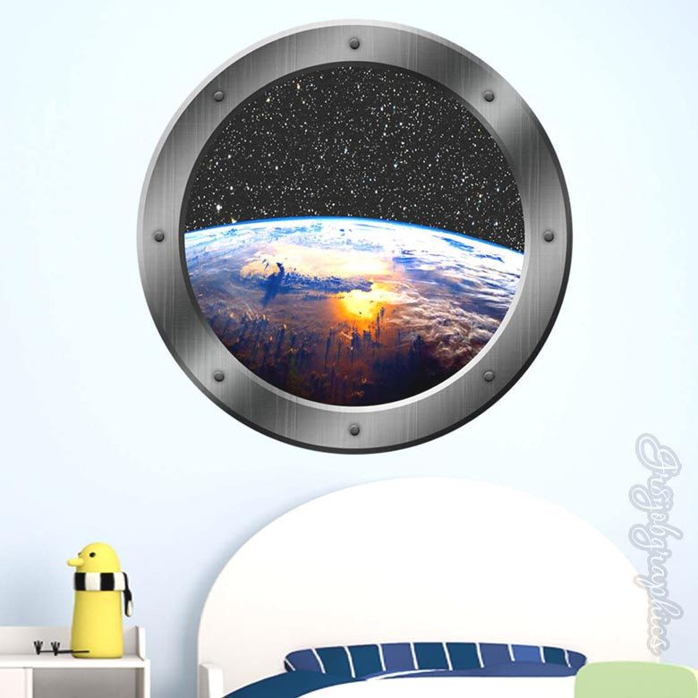 3d astronaut wall decor earth wall decal 3d window porthole view outer space graphics astronaut kids room ps11 by vwaq on etsy