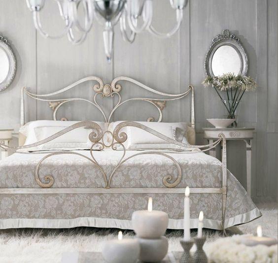 cama matrimonial de hierro forjado pintada color plata decapado_ ...