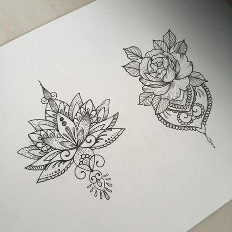 Dessins Tatouage Mandala Femme Fleur De Lotus Et Rose True Tattoo