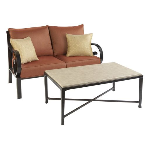 Lowes Patio Furniture Allen Roth Pardini Wicker Loveseat Sofa Table Set At