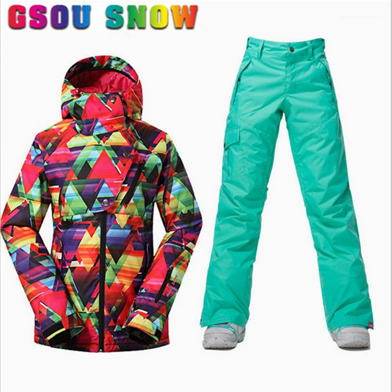 Gsou Snow New Women Ski Jacket Pants Waterproof Plus Size