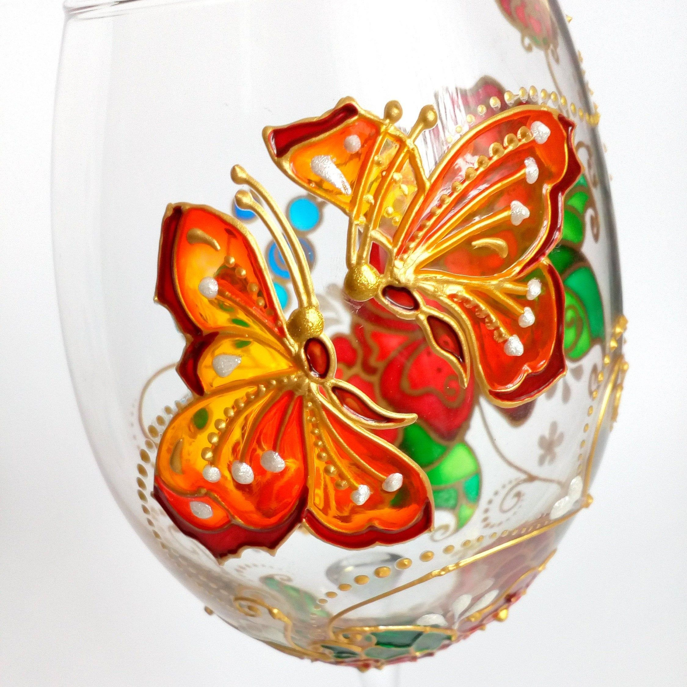 Butterfly Wine Glass Hand Painted Handmade Personalised Gift Etsy Hand Painted Wine Glass Handmade Personalized Gifts Hand Painted Wine Glasses
