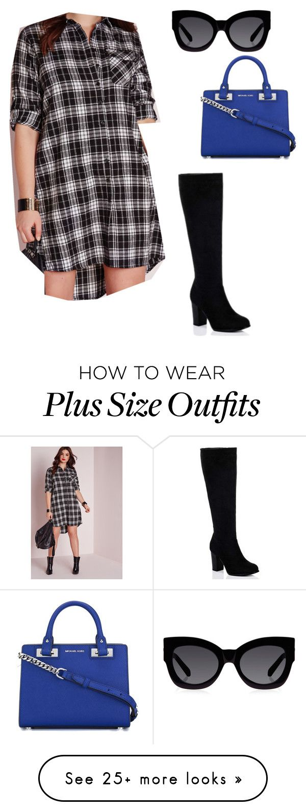 """Plus Size Kourtney Kardashian Inspired Outfit"" by lydiaouellette on Polyvore featuring Missguided, MICHAEL Michael Kors and Karen Walker"