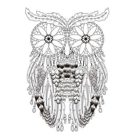 Página para colorear de impresionante buho — Vector de stock | OWL ...