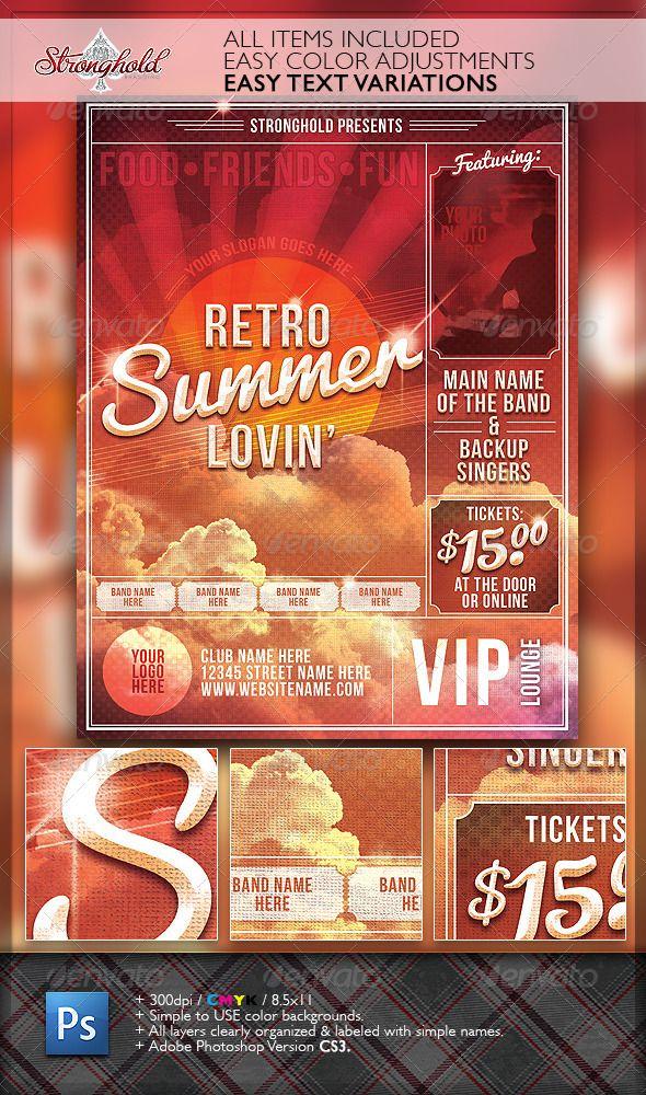 Summer Lovin Retro Flyer Template  Flyer Template Retro And Summer