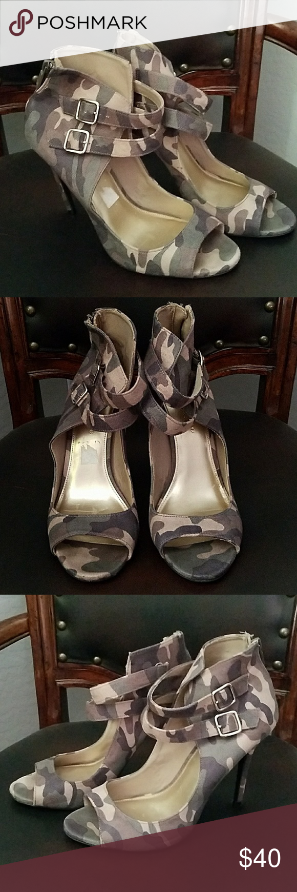 CHRISTIAN SIRIANO CAMO HEELS Size 11, cute camo heel with two straps around the front, bottoms in excellent shape, zipper on back for easy access,  open toe. Christian Siriano Shoes