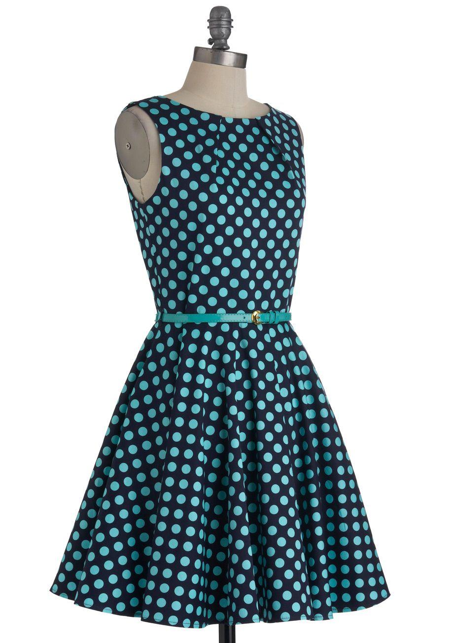 Luck Be a Lady Dress in Blue Dots   Mod Retro Vintage Dresses   ModCloth.com