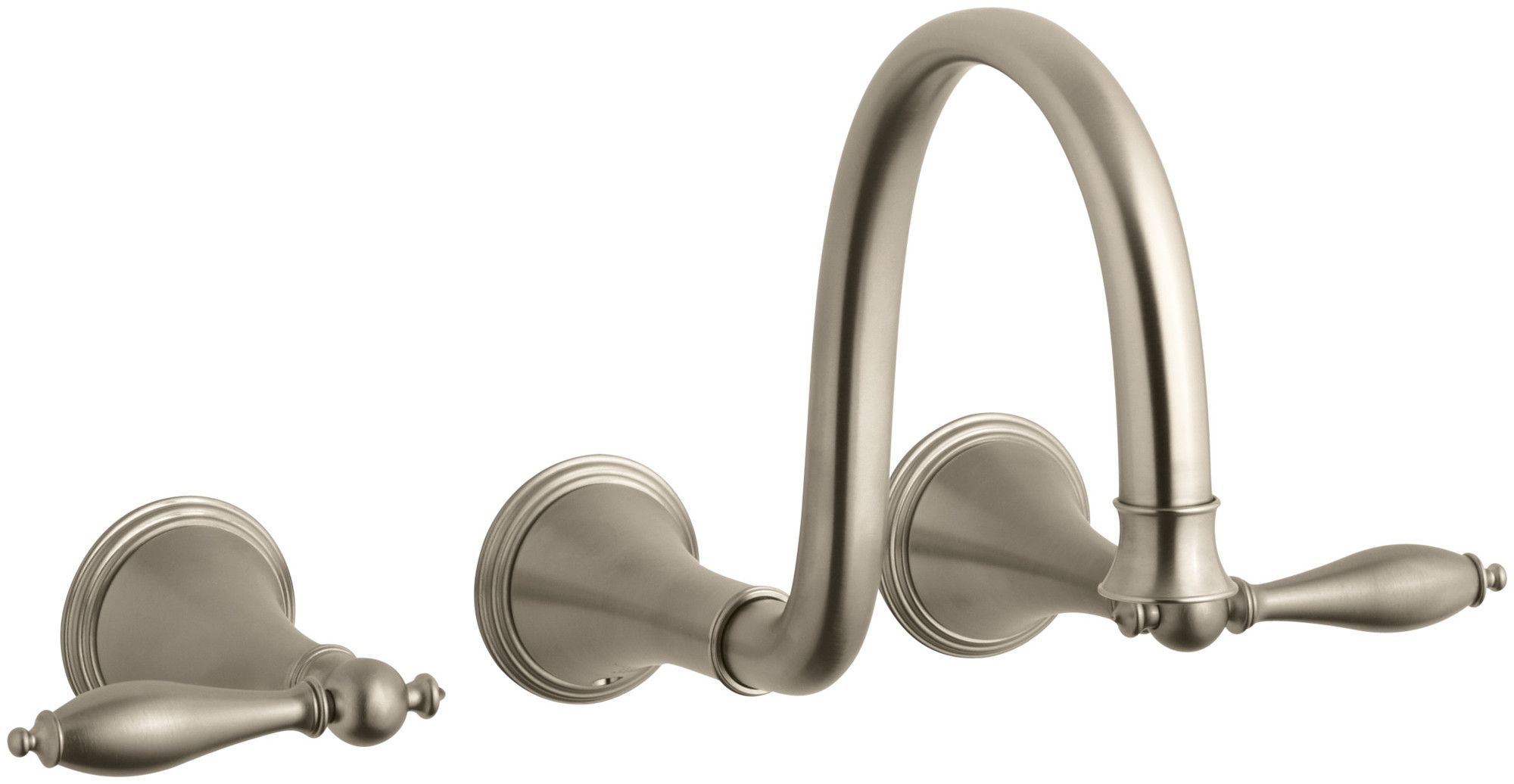 Finial Traditionalwall-Mount Bathroom Sink Faucet Trim with Lever ...