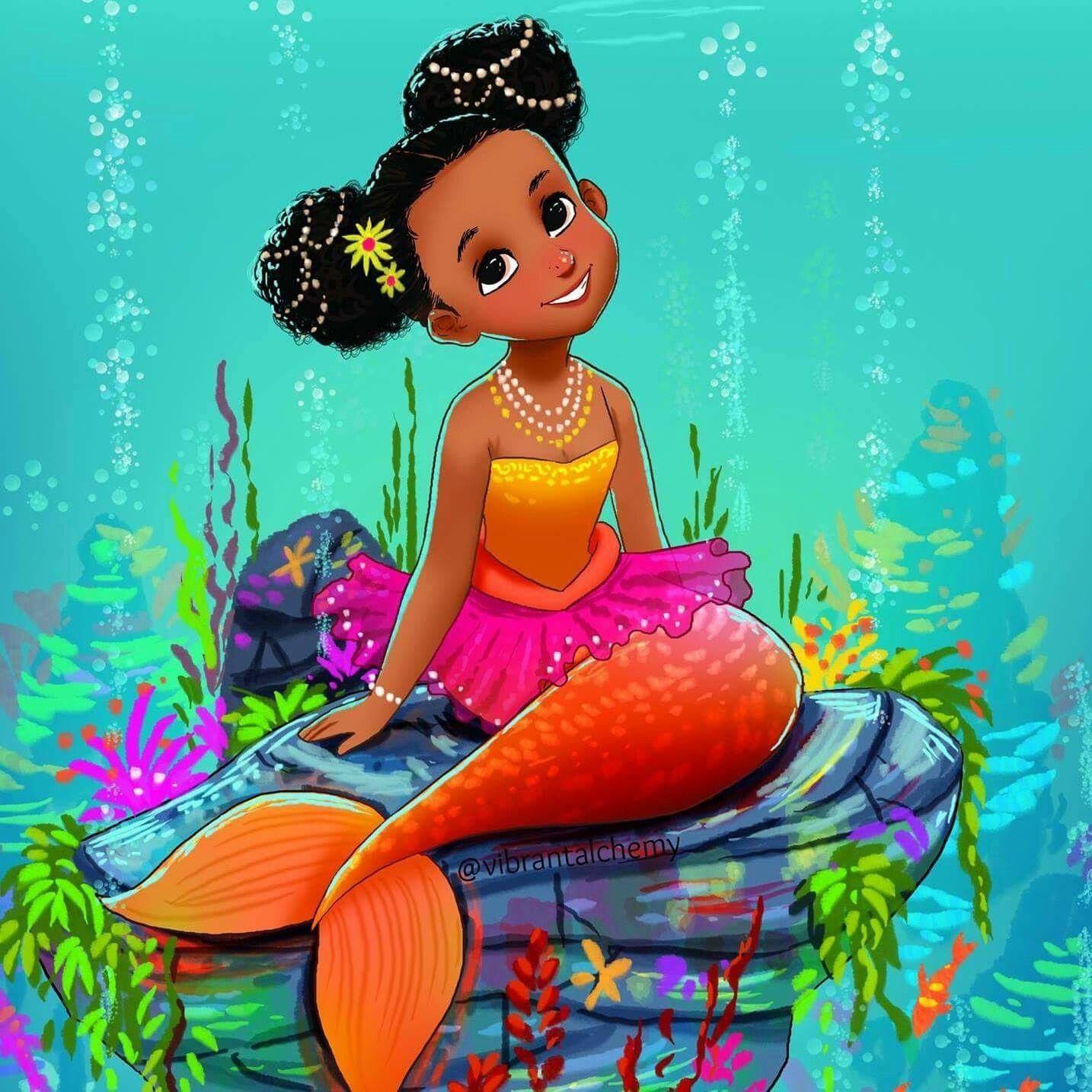 Pin By Patricia Telfort Saint Laurent On Mermaid Ishana African American Mermaid Black Mermaid Mermaid Drawings