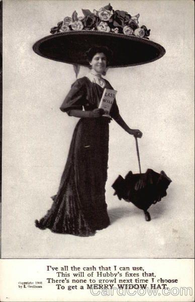 Woman Wearing A Merry Widow Hat Women