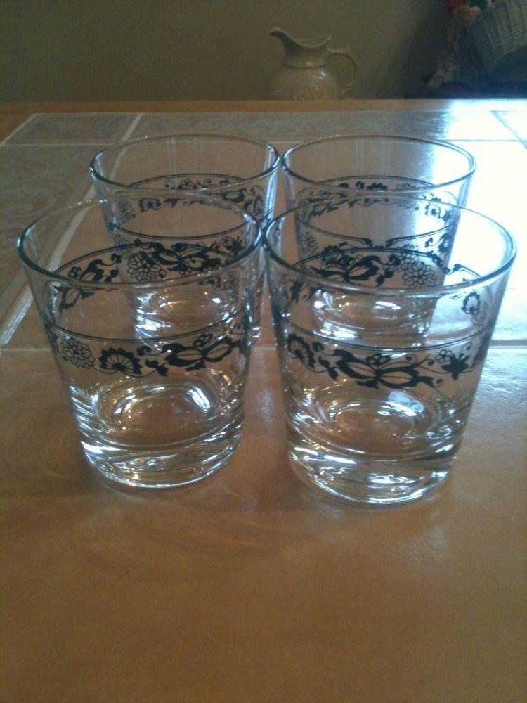 4 Bradley Juice Glasses Corelle Old Town Blue Onion Danube