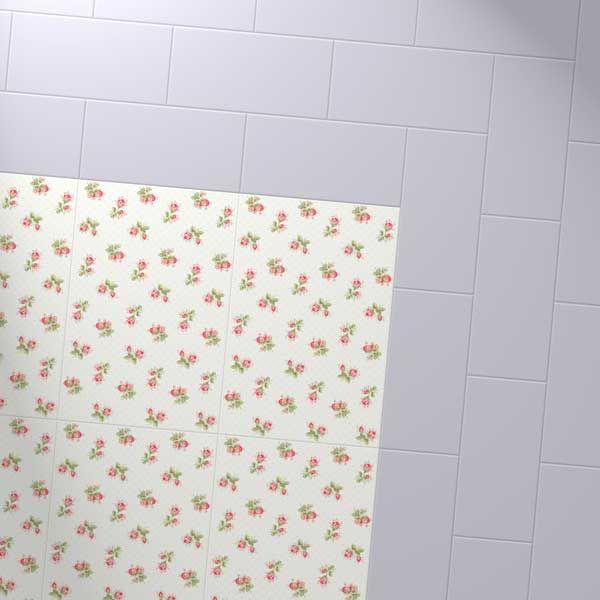 Harvey Maria Little Bricks luxury vinyl tiles in Soft Lilac, creating a border around the Cath Kidston white roses.