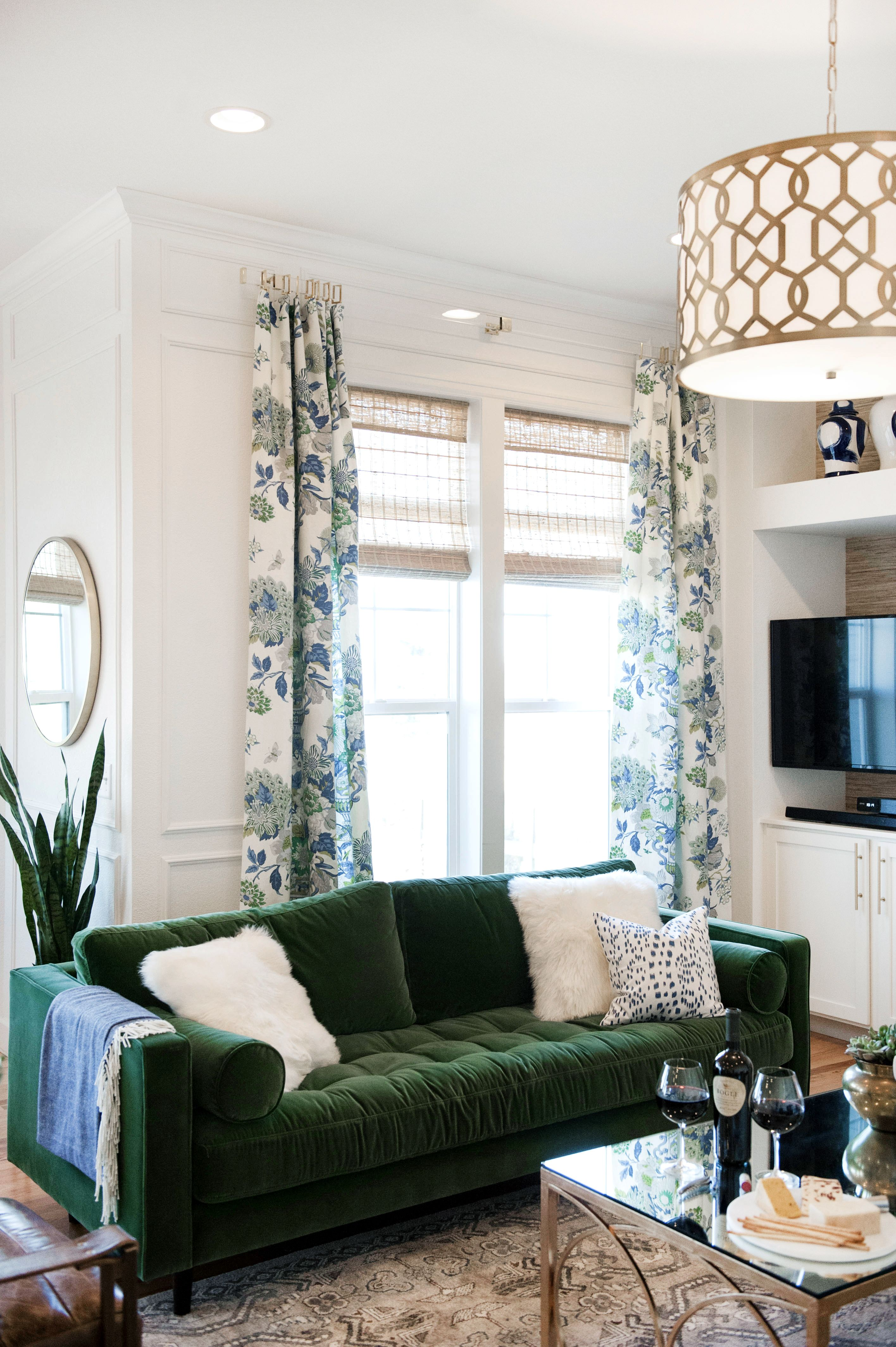 One Room Challenge Reveal Fall 2016 Suburban Bees In 2020 Living Room Green Green Couch Living Room Stylish Living Room