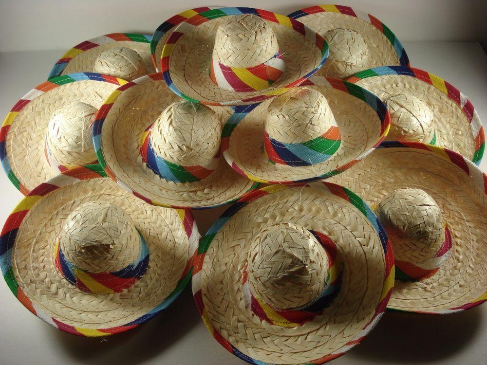 Lot of 11 Mini Sombreros Mexico Party Tabletop Fun Miniatures Patio Salsa Holder